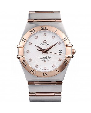 Omega Swiss Constellation Jewelry Rose Gold Case Radial Emblem White Dial