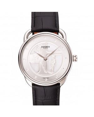 Hermes Classic Croco Leather Strap Silver Dial 801400