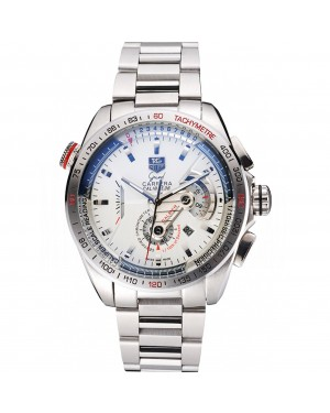 Tag Heuer Carrera Tachymeter Bezel White Dial Stainless Steel Strap