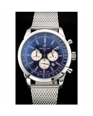 Breitling Transocean Stainless Steel Case Blue Dial