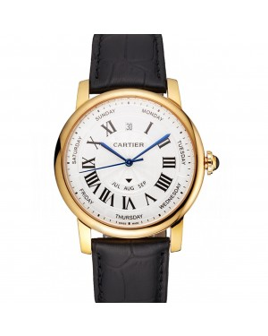 Swiss Cartier Rotonde Annual Calendar White Dial Gold Case Black Leather Strap