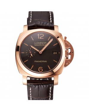Swiss Panerai Luminor Marina 1950 3 Days Oro Rosso Brown Dial Rose Gold Case Brown Leather Strap