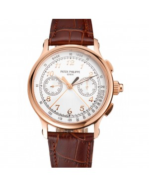 Swiss Patek Philippe Split Seconds Chronograph White Dial Rose Gold Case Brown Leather Strap