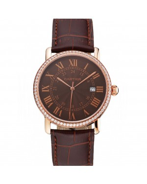 Cartier Ronde Solo Brown Dial Diamond Bezel Rose Gold Case Brown Leather Strap