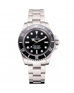 Swiss Rolex Submariner No Date Black Dial And Bezel Stainless Steel Case And Bracelet