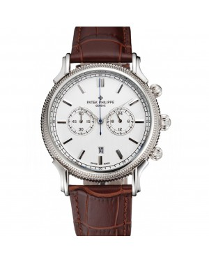 Patek Philippe Chronograph White Dial Stainless Steel Case Brown Leather Strap