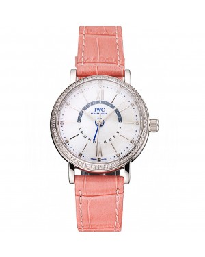 IWC Portofino Day And Night White Dial Stainless Steel Case Pink Leather Strap