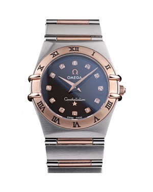 Omega Swiss Constellation Jewelry Rose Gold Case Black Dial 98114
