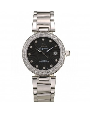 Omega DeVille Ladymatic iamond Plated Bezel Black Dial