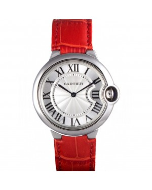 Cartier Ballon Bleu Silver Bezel with White Dial Red Leather Band 621551