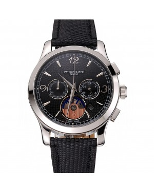 Patek Philippe Chronograph Black Guilloche Dial Stainless Steel Case Black Leather Strap