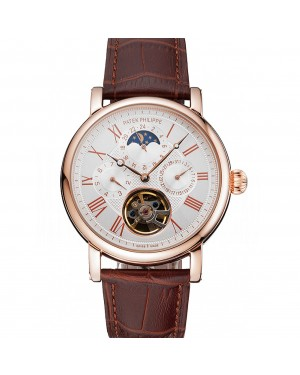 Patek Philippe Grand Complications Moonphase Perpetual Calendar Tourbillon White Dial Rose Gold Case Brown Leather Strap