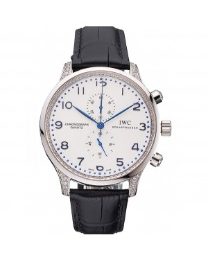 IWC Portugieser Chronograph White Dial Blue Hands And Numerals Steel Case With Diamonds Black Leather Strap