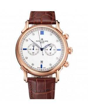 Patek Philippe Chronograph White Dial With Blue And Diamond Markings Rose Gold Case Brown Leather Strap