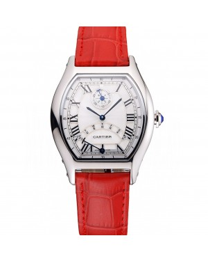 Cartier Tortue Perpetual Calendar White Dial Stainless Steel Case Red Leather Strap