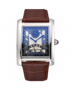 Cartier Tank Black And White Dial Stainless Steel Case Brown Leather Strap 622763