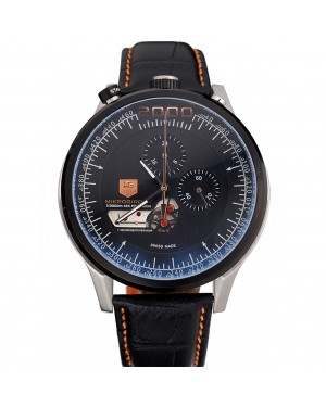 Tag Heuer MikroTimer Black Dial Black Perforated Leather Strap 622072