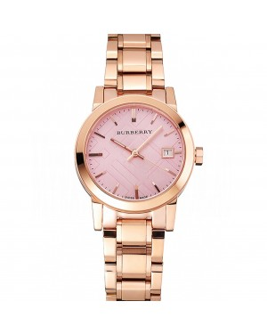 Burberry The City Pink Dial Rose Gold Case And Bracelet