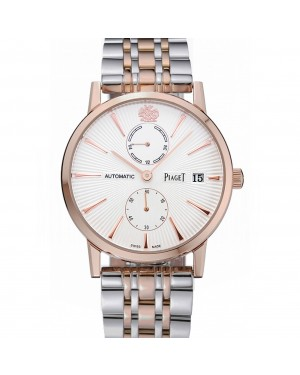 Piaget Altiplano White Dial Rose Gold Case Two Tone Stainless Steel Bracelet 1454231