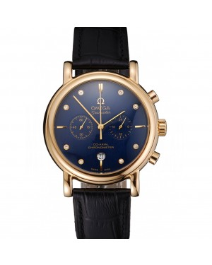 Omega Seamaster Vintage Chronograph Blue Dial Diamond Hour Marks Gold Case Black Leather Strap