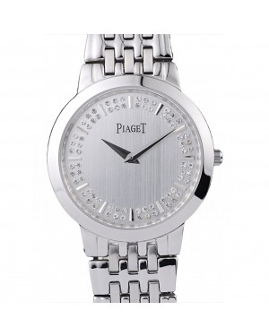 Piaget Dancer Stainless Steel Case Double Studded Minute Markers Silver Dial
