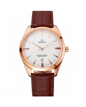 Omega Tresor Master Co-Axial White Dial Rose Gold Case Brown Leather Strap