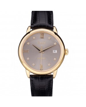 Piaget Swiss Traditional Grey Dial Black Leather Strap 7622