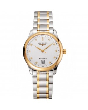 Swiss Longines Master White Dial Diamond Hour Markers Two Tone Stainless Steel Bracelet 1453930