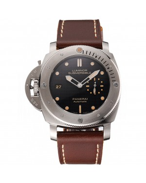 Swiss Panerai Submersible Left Handed Black Embossed Case Stainless Steel Case Brown Leather Strap