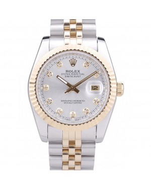 Rolex Datejust Silver Dial Diamonds Ribbed Bezel 7454