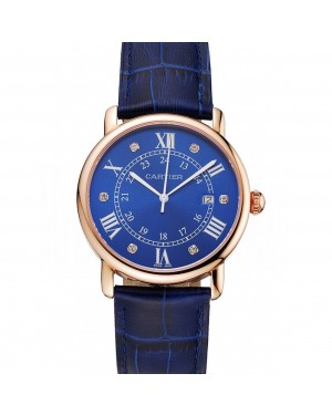 Cartier Ronde Solo Blue Dial Diamond Hour Marks Rose Gold Case Blue Leather Strap