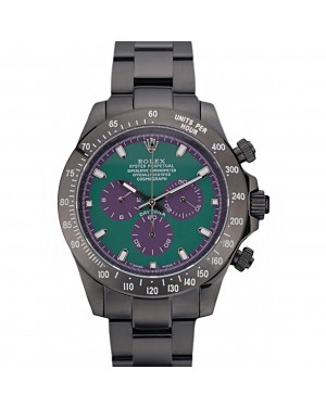 Rolex Daytona Black Ion Plated Tachymeter Black Stainless Steel Strap Green Dial 80246