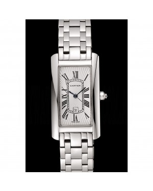 Cartier Tank Americaine 21mm White Dial Stainless Steel Case And Bracelet