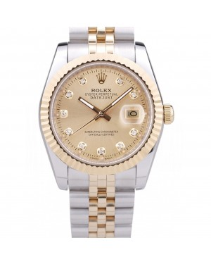 Rolex Datejust Gold Dial Diamonds Ribbed Bezel 7452