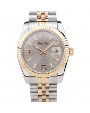 Rolex DateJust Two Tone Stainless Steel 18k Gold Plated Silver Dial 98085