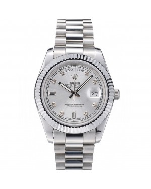 Rolex Swiss DayDate Stainless Steel Ribbed Bezel Silver Dial 41995