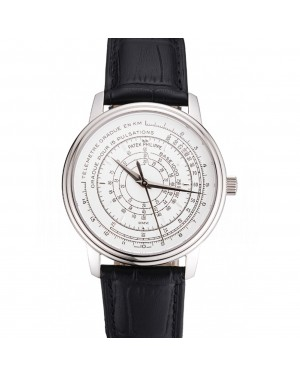 Swiss Patek Philippe Multi-Scale Chronograph White Dial Stainless Steel Case Black Leather Strap