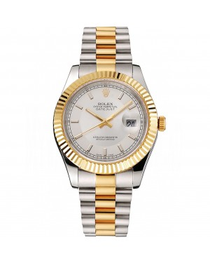 Swiss Rolex Datejust White Dial Gold Bezel Stainless Steel Case Two Tone Gold Bracelet