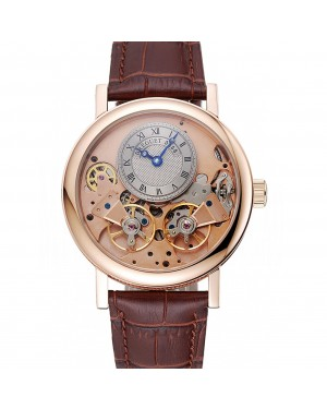 Breguet Tradition Grey Dial Gold Case Brown Leather Bracelet 1454031